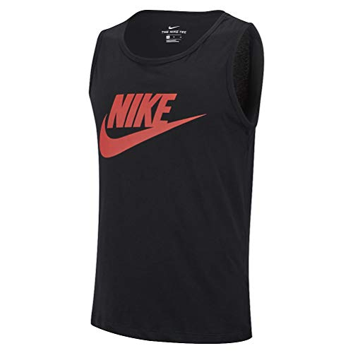 Nike Herren Tank Top M NSW Tank ICON Futura, Black/Habanero red, S, AR4991 -