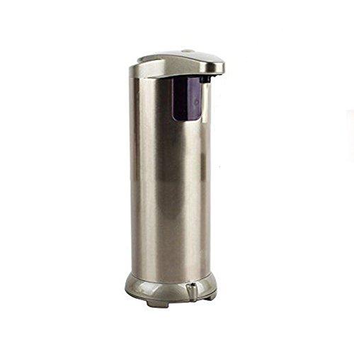 Home & Style Edelstahl Handfreier Sensor Berührungsloser Seifenspender mit wasserdichtem Sockel 280 ML,Edelstahl-Silber Champagner gefrostet -