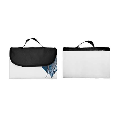 EUCoo 3D Digitaldruck Vollpolyester Oxford Tuch Picknickmatte/Strandmatte/Feuchtigkeitsmatte - Feder(148x152cm)