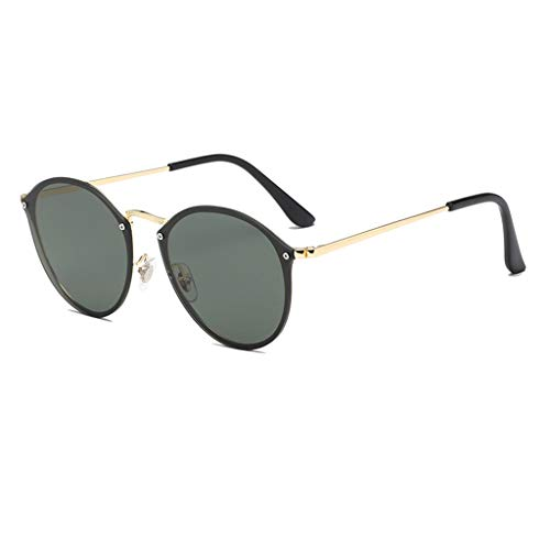 Hiiglasses Halbrandlose polarisierte Sonnenbrille Frauen Männer Marke Vintage Sonnenbrille (Color : Dark Green Lens)