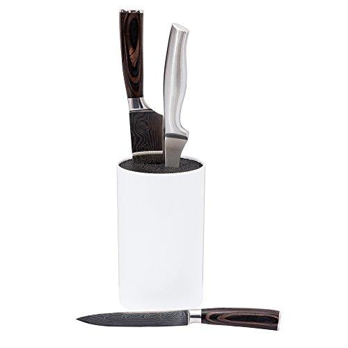 Mack Universal Messerblock im schlichten Design 18 cm hoch, Ø 11 cm weiß mit herausnehmbarem Kunststoffeinsatz