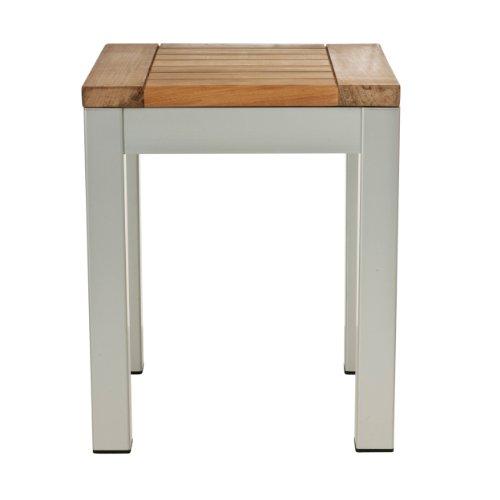 Quadrat Hocker - Gestell Aluminium eloxiert / Platte Teak