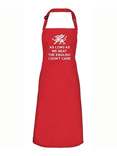 T-Shirt Printing 4 U aS Long AS We Beat The English i Don' t Care Red Grembiule, Funny Welsh Calcio/Rugby Galles Grembiule da Barbecue, Party Rosso Bavaglino Grembiule, Poliestere, Red, Taglia Unica