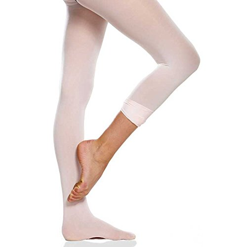Convertible Pink Ballet Tights for Girls- Durable Dancewear for Kids- Breathable Cotton/ Lycra Fabric- Versatile Little Girls Clothing-Best Dance Wear for Ballerina/ Contemporary Dancing