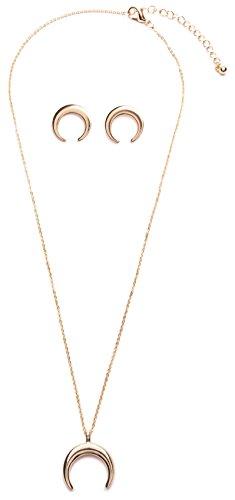 amen Halbmond Schmuckset in Goldfarbe | Halbmond Ohrringe und Kette mit Halbmond Anhänger nickelfrei (Kleine Mädchen-mode-boutique)