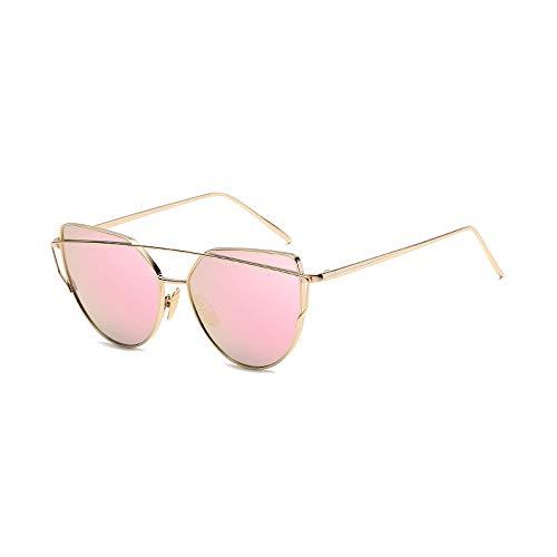 Eye-nak® Mode Katzenaugen Cat eye Sonnenbrille Für Damen UV400 Metall Rand Rahmen verspiegelte Linsen (C8 Rahmen Gold/Glas Rosa)