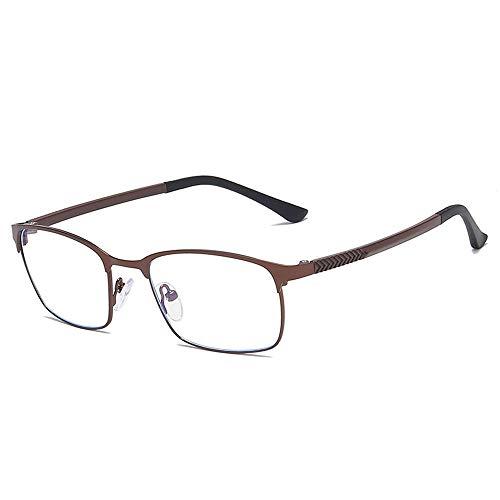 Unisex Retro Square Business Brillengestell TR90 Metall Brillen Anti Blu Ray Plain Glasses (Color : Tea, Size : Kostenlos)