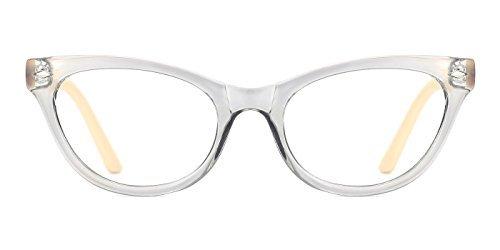 TIJN Damen Mode Klassisch Cateye Brille ohne Stärke Klare Linse Brillen Rahmen Grau