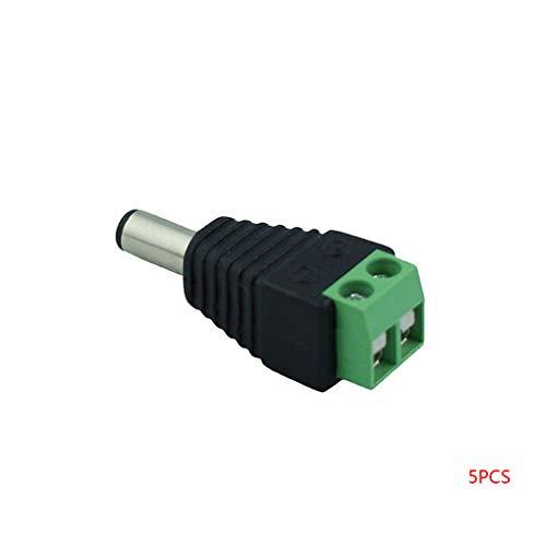Cdrox 5pcs Solderless Grün DC Männlich Weiblich Strom Heads Stecker Jack Adapter LED-Streifen-Anschluss -