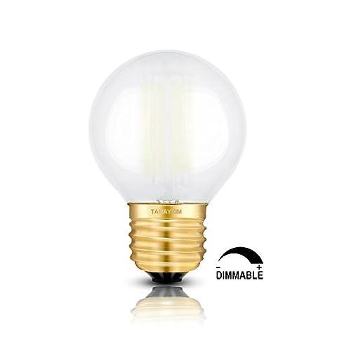 TAMAYKIM G50 6W Dimmable Antique Edison Style Ampoule Filament LED - 5000K Blanc Lumière du (Media Base Spot)