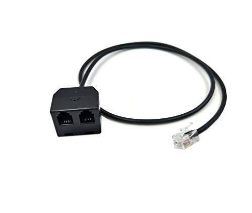 Duttek RJ9 Headset-Adapter-Verlängerungskabel - 2 in 1 RJ9-Buchse auf Stecker 4P4C Y Splitterkabel für Plantronics, Jabra, Hot Desking Büro-Telefone