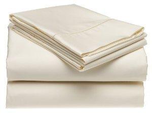 Solid Flieder Fadenzahl 300Twin Extra lange Größe Bettlaken Set 100% Baumwolle 3-teiliges Bed Sheet Set (Deep Pocket) von sheetsnthings, baumwolle, elfenbeinfarben, Olympic Queen (Twin Sheet Lange Set)