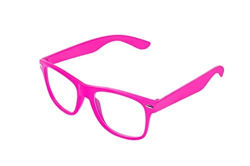 Boolavard Nerd Sonnenbrille im Wayfarer Stil Retro Vintage Unisex Brille - 45 Modelle wählbar (Rose...
