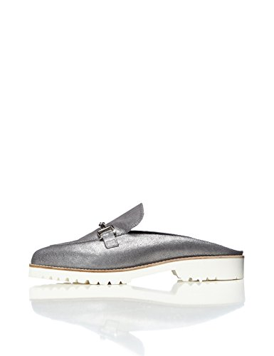 FIND Damen Jean Backless Loafer, Silber (Blue), 41 EU (2-loafer)