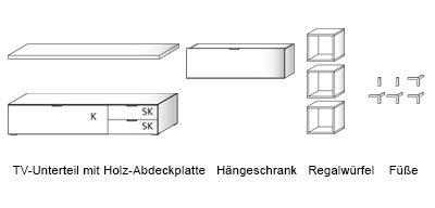 Anbauwand, Wohnwand, Wildeiche-NB, TV-Unterteil Maße: B/H/T ca. 163/34/50 cm, - 2