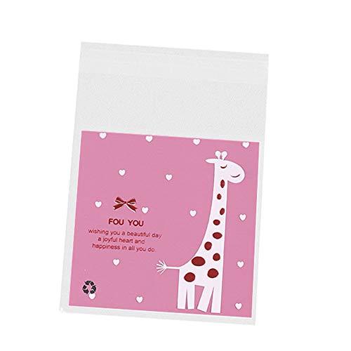 MoGist Lot de 100 sachets Auto-adhésifs en Plastique Motif Girafe, Rosa, 7 * 7+3cm