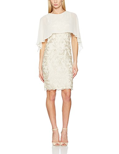 Gina Bacconi Chiffon Cape and Corded Mesh, Robe Femme Beige (Butter Cream)