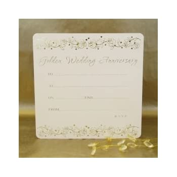 Golden Wedding Anniversary Invitations  Pack Of  AmazonCoUk
