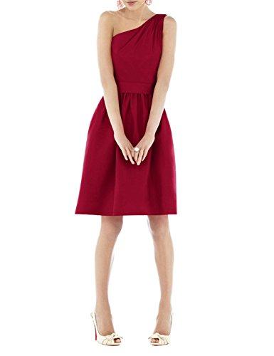 Find Dress Femme Sexy Robe Demoiselle d'Honneur Epaule Asymétrique Robe de Soirée/Cocktail/Cérémonie Courte en Satin Rouge Foncé