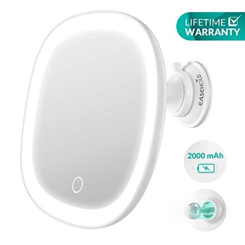 EASEHOLD Rasierspiegel Kosmetikspiegel LED Beleuchtet mit Saugnapf, 7X Vergrößerung, 360° Schwenkbar, Wiederaufladbarer Akku, IPX5 wasserdicht, Make Up Schminkspiegel mit Touch-Taste für Badzimmer -