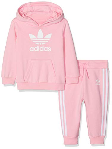 adidas - Trefoil Hoodie - Survêtement - Mixte Enfant - Rose (Light Pink/Blanc) - FR: 12-18 ans (Taille Fabricant: 86)