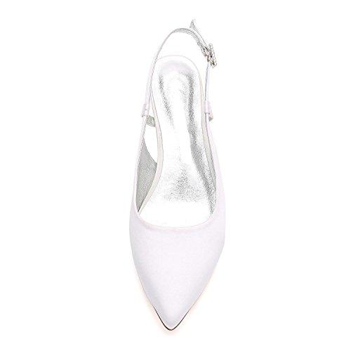 purple L de YC Talons fermé Bobine Prom Chaussures mariage Femmes Pointu hauts 8 Satin D99634 Escarpins Bout SFqSrx
