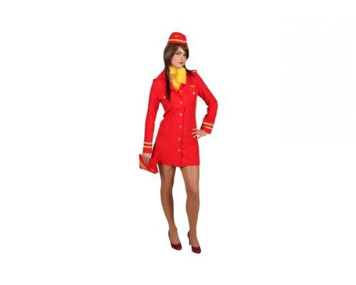 Stewardess rot Kleid Haube Tuch, Größe:40