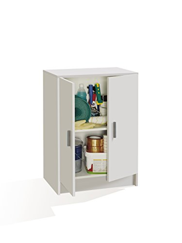 Habitdesign - Armario multiuso bajo 2 puertas, 80 x 59 x 37 cm, color blanco