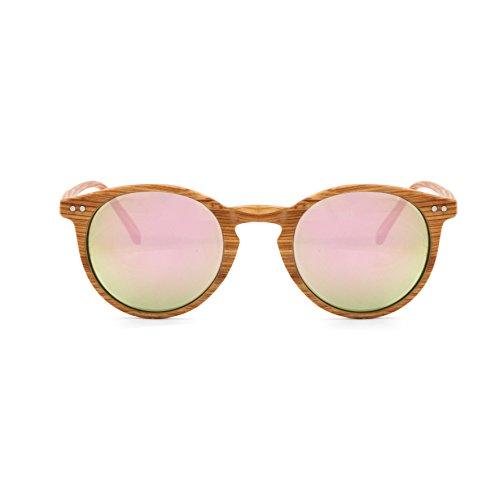 Occhiali Da Sole Marca Isurf Ray Round Basic Wood Ban Unisex Rotondi Effetto Legno Specchiati Sfumati (effetto Legno Specchio Verde) kIDo9SliQ
