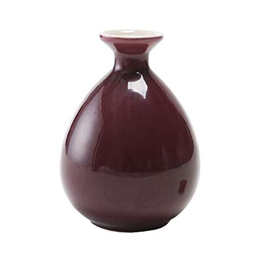 Mini chinesische Keramik Blumenvase Bud Vase Weinflasche, ideales Geschenk für Home Office, Dekor, Tischvasen, Bücherregal Ornamente Flaschen, Leuchtend Karminrot