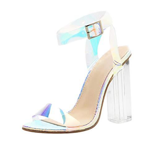 Kolylong® Damenschuhe Sandalen Sandaletten Blockabsatz High Heel Damen Knöchelriemchen Sandalen Sexy Offene Zehen Pumps Dress Schuh -