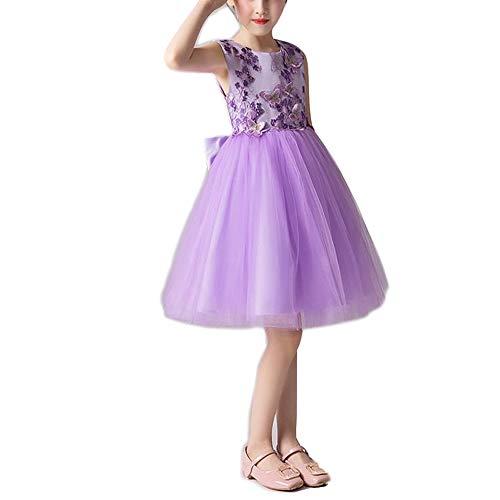 Kostüm Kind Lila Göttin - H_y Prinzessin Flauschigen Kleid, bestickte Schmetterlingsmuster handgefertigte weiche Stoff Mesh Hochzeitskleid Prom Kleidung ärmellose Mädchen lila Kostüme,S