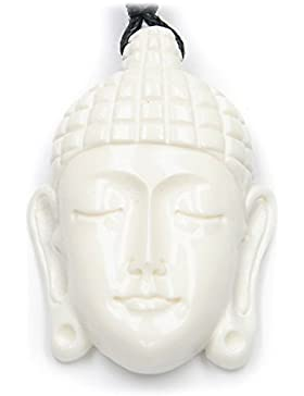 Buddha Kopf Schmuck Knochen, Kettenanhänger von Hand geschnitzt , inkl. schwarzem Textilband, 3cm lang