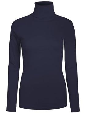 Brody & Co.® Maglia da donna a collo alto, tinta unita, per inverno, sci, jersey elasticizzato