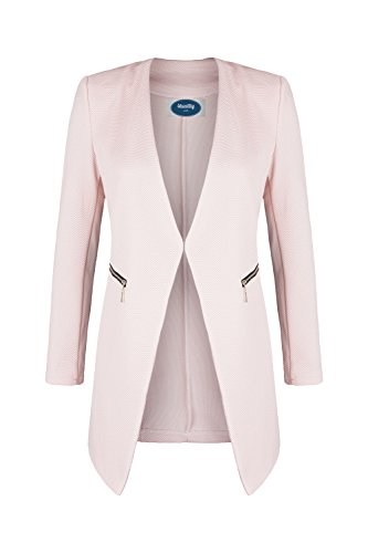 AO Long Blazer kragenlos mit Zipper rosa Gr. XXL (Damen Lange Sakkos)