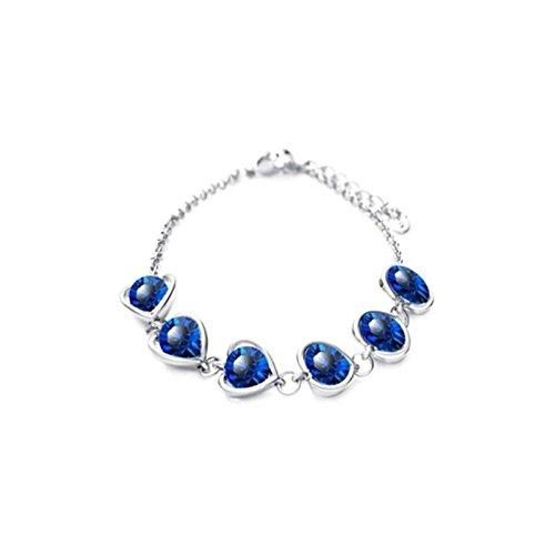 Bracelet suite de coeurs cristaux swarovski elements plaqué or blanc Bleu roi