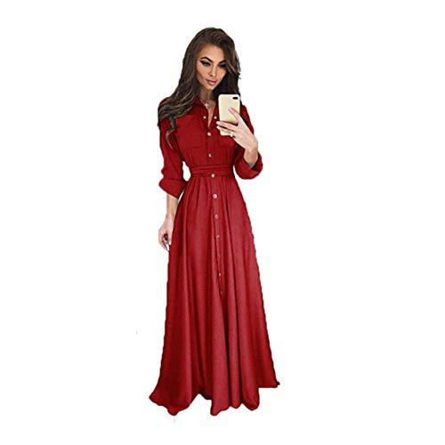 KKVK Hemd Kleid Frauen Umlegekragen Solide Frühling Maxi Damen Kleider Langarm Freizeitkleid Weiblich Elegant AL Petite Spandex Jersey