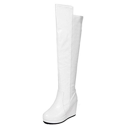 AgooLar Damen Ziehen auf Rund Zehe Hoher Absatz PU Überknie Hohe Stiefel Stiefel, Weiß, 36