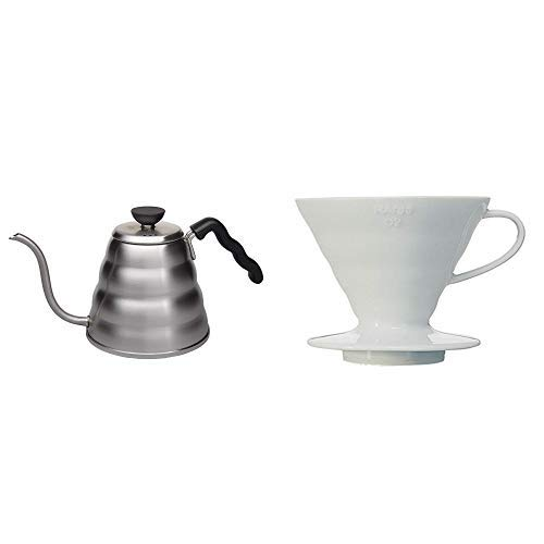 Hario Wasserkocher, Edelstahl, Silber, 1 &  VDC-02W V60 Kaffeefilterhalter, Porzellan, Größe 2, 1-4 Tassen, weiß -