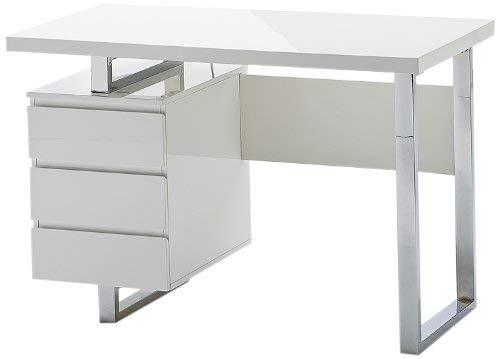 Robas Lund, Tisch, Schreibtisch, Computertisch, Sydney, Hochglanz/weiß/chrom, 115 x 60 x 76cm, 40124W4