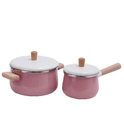 H-O Tekulische Kochware-Spezialität Total Nonstick Stockpot Baby Small Milk Noodle Noodle Pot Sauce Pan mit Glas-Cover Pink Blau,Pink (Non-stick Sauce)