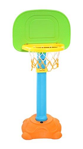 Clamaro 'SLAM DUNK' Kinder Basketballkorb mit Ständer für Kinder, 5-fach höhenverstellbarer Basketballständer ca. 90-120 cm Korbhöhe, Ø 25 cm Korbdurchmesser (passend für Kinder Basketbälle der Größen 1,3 und 5), Korb geeignet für Outdoor im Garten oder Indoor im Kinderzimmer, inkl. Ballpumpe und Basketball (ca. 12-13 cm Durchmesser)