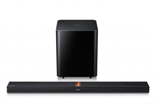Abbildung Samsung HW-F750/EN 2.1 Soundbar mit Röhrenverstärker (310 Watt, SoundShare, Bluetooth) schwarz