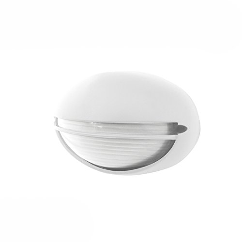 Plafón exterior ovalado con visera blanco 60W E27