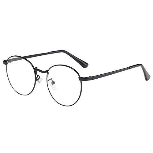 Haodasi Unisex Klassisch Metall Runden Felge Hochauflösend Brille Kurzsichtig Kurzsichtigkeit Brillen Harz Löschen Linsen (Stärke -1.0, Schwarz) (Diese sind nicht Lesen Brille)