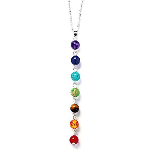 Gosear 7 Chakren Edelstein Yoga Reiki Gebet Halskette Heilung Energie Balance Schmuck mit Multi Farbe Perle Anhänger (Farbe Halskette)