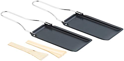Rosenstein & Söhne Grill-Raclette-Pfännchen: 2er-Set Grill-Pfännchen mit klappbarem Griff, spülmaschinenfest (Raclettepfännchen)