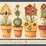 Blue Gardening Wallpaper Border 3762 ALB by York Wallcoverings