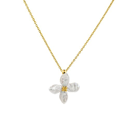 Collana di perle coltivate d'acqua dolce Keshi 7-10 mm a forma di fiore Secret & You - Catena e pendente in argento sterling 925 millesimi - 45 cm di lunghezza.