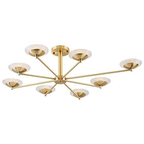 Cwill Nordic postmodernen Foyer Esszimmer Kronleuchter Echt Messing Fliegende Untertasse 6/8 Kopf Glas Droplight LED G4 Lampe Leuchte, Echt Kupfer, 8 Lampe -